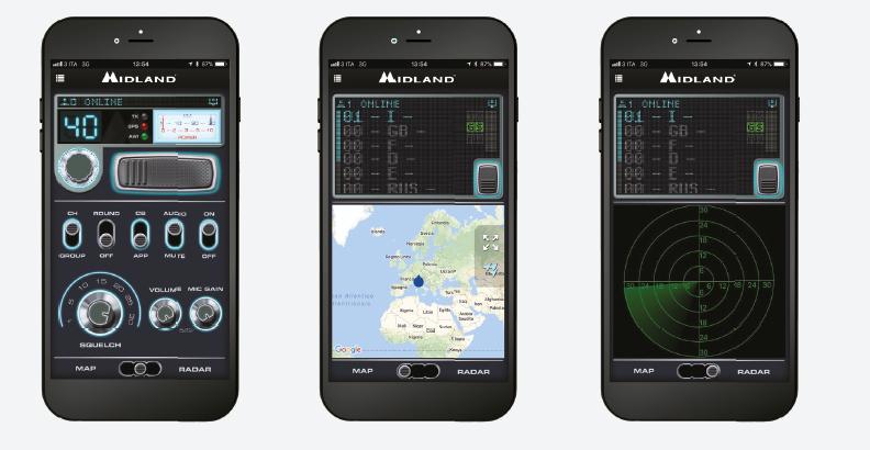 Apicación Midland CBTalk, Funcionalidad Maps y Funcionalidad Radar